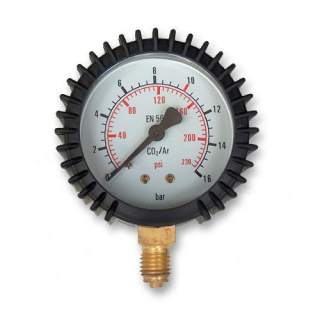 "Manometer Argon/CO2 16 Bar - 1/4"" 63 mm"