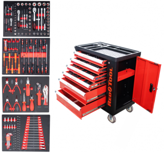 ea00118903c07 REDTOOL Dielenský vozík 6+1 zásuvkový 156 ks náradia v penových moduloch  empty